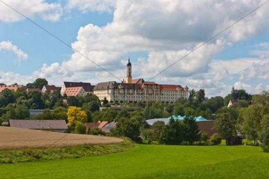 Kloster Ochsenhausen monastery, with St. Georg monastery church, Ochsenhausen, Biberach district, Upper Swabia, Baden-Wuerttemberg, Germany, Europe