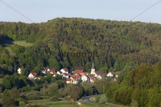 Untertrubach, municipality of Obertrubach, Trubachtal valley, as seen from Wolfsberg castle ruin, Little Switzerland, Upper Franconia, Franconia, Bavaria, Germany, Europe