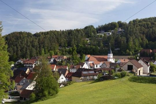 Obertrubach, Trubachtal valley, Little Switzerland, Upper Franconia, Franconia, Bavaria, Germany, Europe, PublicGround