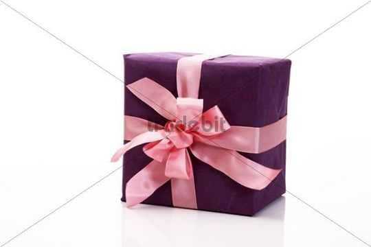 Purple gift with a pink ribbon