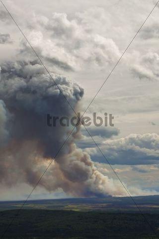 Forest fire following a lightning strike near Fairbanks, Alaska, USA