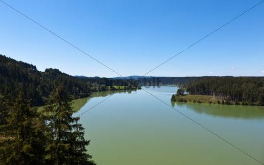 View of the Lech river from Lechtalbruecke bridge near Peiting, Lech, Upper Bavaria, Bavaria, Germany, Europe, PublicGround