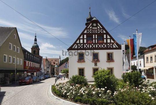 The old town hall and the parish church on Marktplatz square, Pegnitz, Little Switzerland, Upper Franconia, Franconia, Bavaria, Germany, Europe, PublicGround