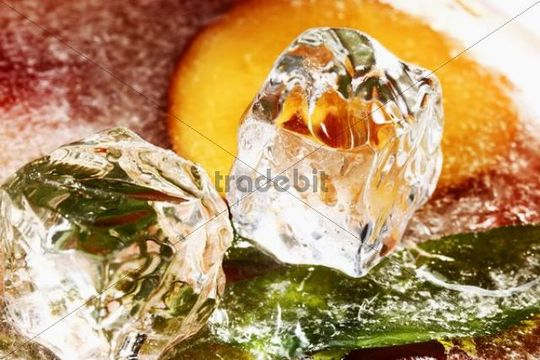 Ice cubes on a block of ice with frozen peaches