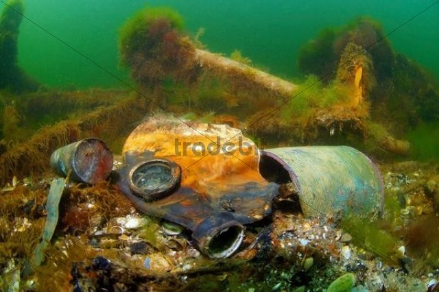 """Gas mask in the underwater wreck of the mine trawler """"Collective farmer"""", Black Sea, Ukraine, Eastern Europe"""