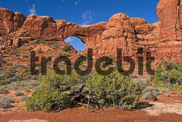 natural arch North Window in Arches National Park Utah USA