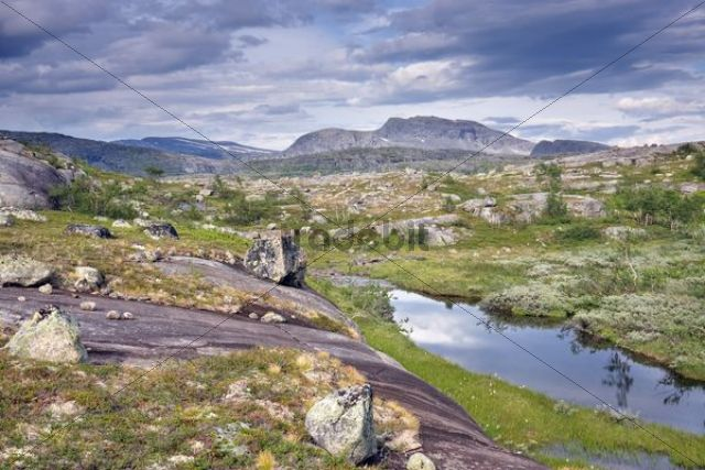 Lagoon with Snøtoppen, Snotoppen peak, Rago National Park, Nordland county, Norway, Scandinavia, Europe