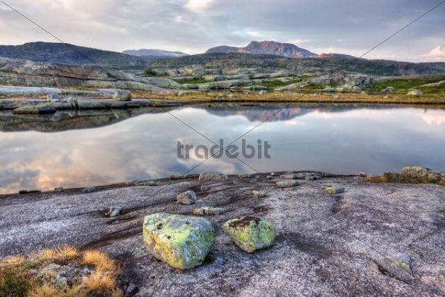 Lagoon with Snøtoppen, Snotoppen peak, Rago National Park, Nordland county, Norway, Scandinavia, Europe