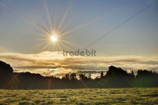 Lake Chiemsee as seen from Ratzinger Hoehe at sunrise, Chiemgau, Upper Bavaria, Bavaria, Germany, Europe