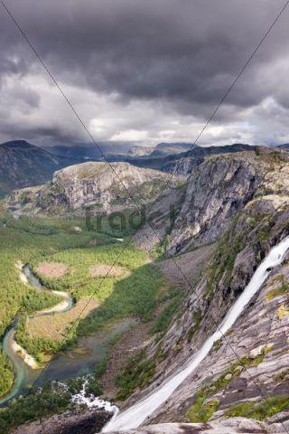 Litlverivassforsen waterfall and Storskogelva river in Storskogdalen valley, Rago National Park, Nordland county, Norway, Scandinavia, Europe