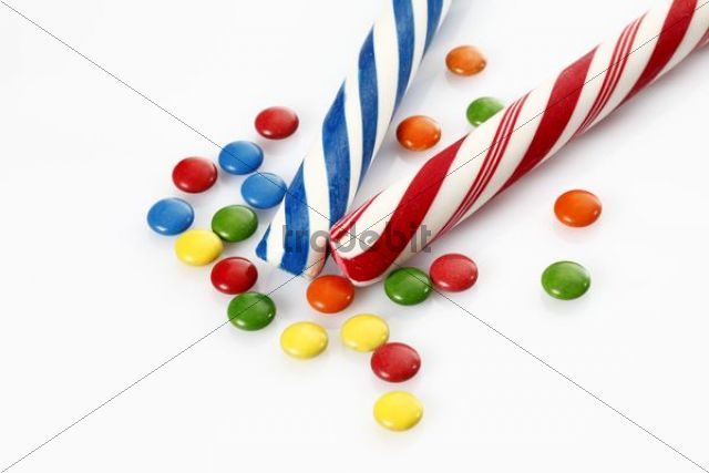 Colourful candy canes and chocolate beans