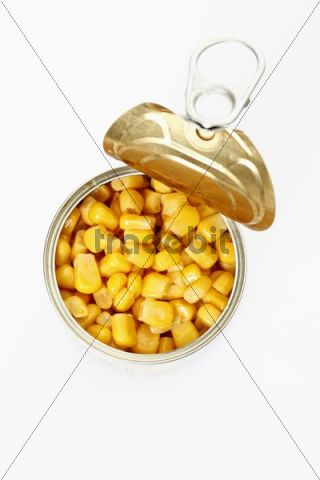 Opened tin of sweetcorn, from above