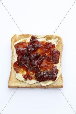 Slice of toast, toasted slice of bread, with rosehip-apple jam