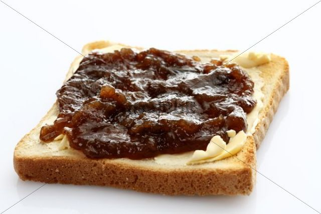 Slice of toast, toasted slice of bread with rhubarb jam