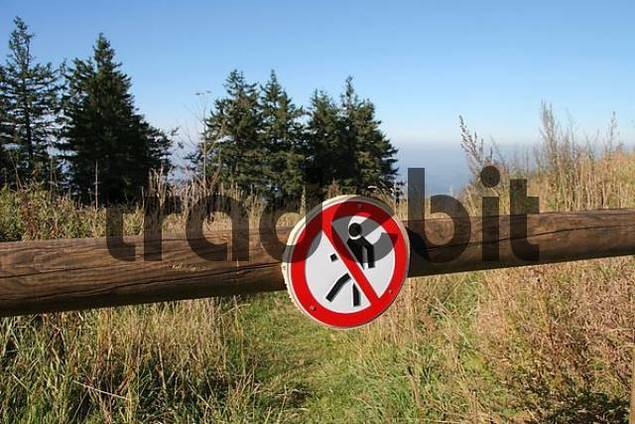 Nature reservation area with no trespassing sign, Kandel, black forest, Baden-Wuerttemberg, Germany