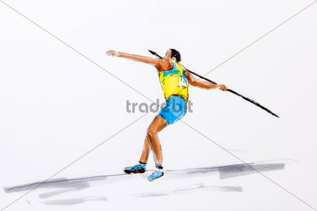 Javelin thrower during casting, drawing by the artist Gerhard Kraus, Kriftel, illustration