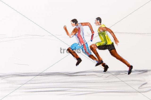 Two runners, track and field athletics, drawing by the artist Gerhard Kraus, Kriftel, illustration
