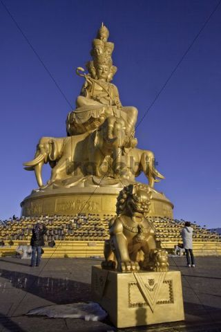 Golden Buddha statue on Mount Emei, Sichuan province, China, Asia