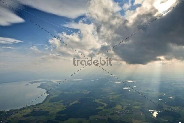 Aerial view, lake Chiemsee and Eggstaetter Seenplatte lake district, Chiemgau, Upper Bavaria, Germany, Europe