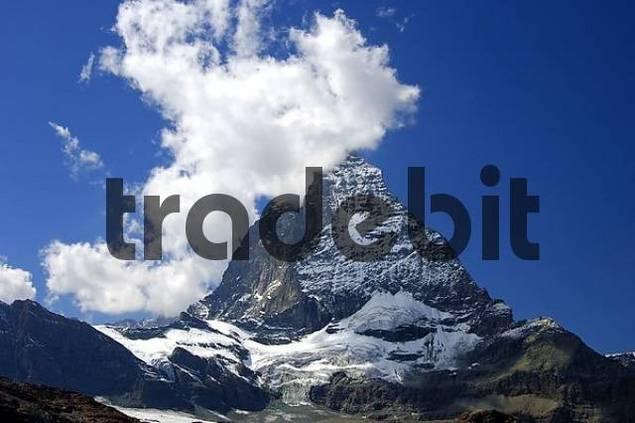 Clouds crowning Mount Matterhorn, Hoernli ridge, Zermatt Valais Switzerland