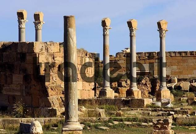 Ancient columns, Ruins of the Roman City Leptis Magna, Libya