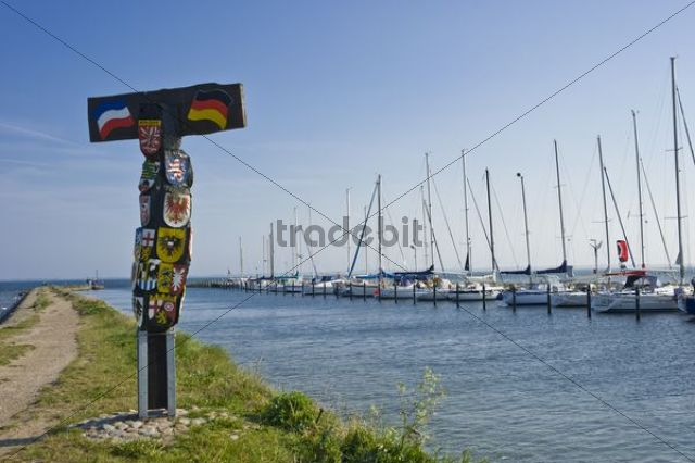 Countries´ coat of arms in the harbour of Orth, Island of Fehmarn, Baltic Sea, Schleswig-Holstein, Germany, Europe
