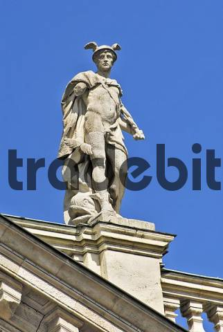 Mercury on the palace of justice, Munich, Bavaria, Germany