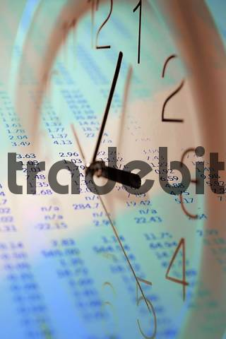 Photo Composite of Stock Page with Clock