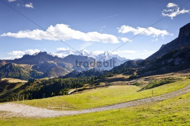 View while ascending the Boeseekofel climbing route in Corvara, looking towards Marmolada Mountain, Dolomites, Alto Adige, Italy, Europe