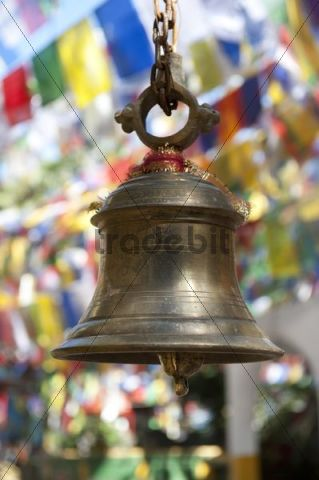 Hinduism, bell, colourful prayer flags, Mahakal Hindu Temple, Observatory Hill, Darjeeling, West Bengal, Lesser Himalaya, India, South Asia, Asia
