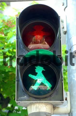 Pedestrian light green Esslingen Neckar Baden Wuerttemberg germany