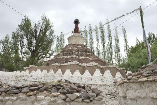 Tibetan Buddhism, many white chorten, Great Kalachakra Stupa, Changspa District, Leh, Ladakh, Jammu and Kashmir, Himalayas, India, South Asia, Asia
