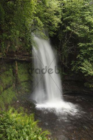 Glencar Waterfall at Glencar Lough, County Leitrim, Connacht, Ireland, Europe