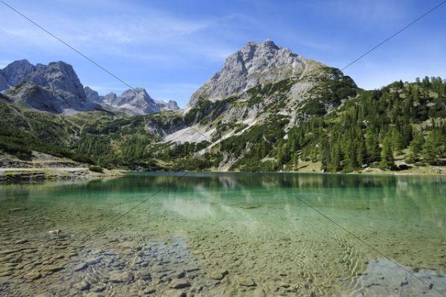 View across Seebensee Lake to Mt Sonnenspitze, Ehrwald, Tyrol, Austria, Europe, PublicGround