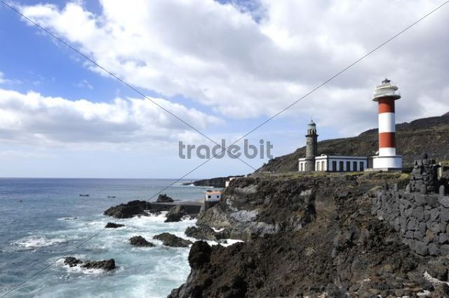 Old and new lighthouse, Faro de Fuencaliente, La Palma, Canary Islands, Spain, Europe, PublicGround