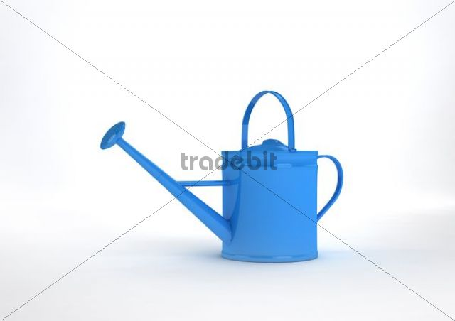Blue watering can, illustration, 3D visualisation