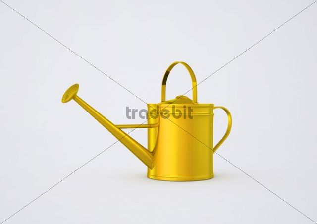 Yellow watering can, illustration, 3D visualisation