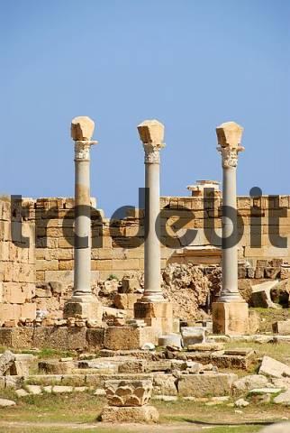 Three antique pillars with corinthian capital Leptis Magna Libya
