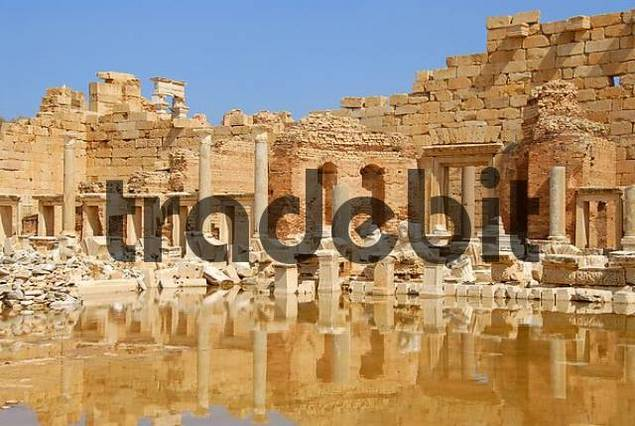 Decayed walls mirror in water new forum Leptis Magna Libya