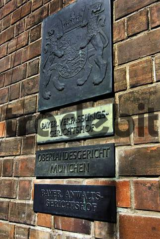 Sign, Higher Regional Court and Bavarian Constitutional Court, Munich, Bavaria, Germany