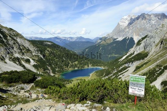 Panoramic views from Coburg Hut to Seebensee Lake and Mt Zugspitze, Ehrwald, Tyrol, Austria, Europe, PublicGround