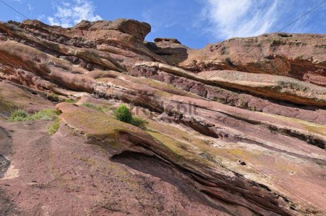Rock formation at Ship Rock, structural detail, red sandstone, Red Rocks Park, Denver, Colorado, USA