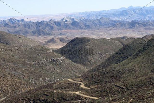 Dry valley with road in a Karoo landscape at Helskloof Pass, Richtersveld National Park, Namaqualand, Northern Cape Province, South Africa, Africa