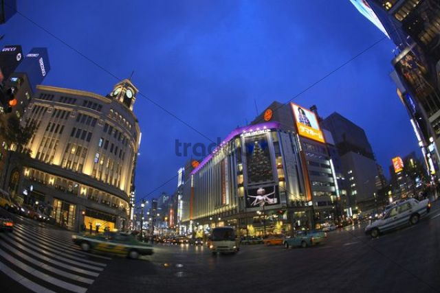 Ginza department store at night, Tokyo, Japan, Asia