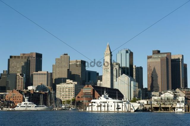 Skyline with Custom House Tower, Financial District, Commercial Wharf, view from Boston Harbour, Boston, Massachusetts, New England, USA, North America