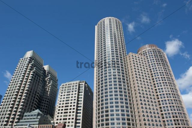 Skyscrapers, high-rise towers, Financial District, Purchase Street, near Rowes Wharf, Boston, Massachusetts, New England, USA, North America