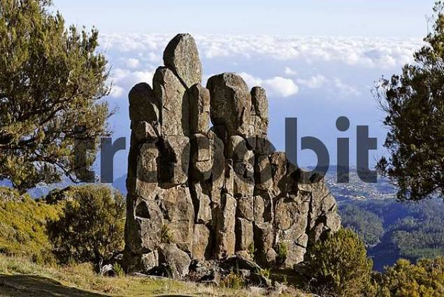 Rock formation called Homem em Pe stony human on the Achada do Teixeira, Madeira, Portugal