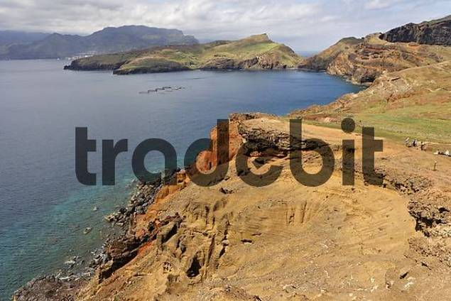 the peninsule Ponta de Sao Lourenco Nature reserve with spectacular high volcanic cliffs , Madeira, Portugal