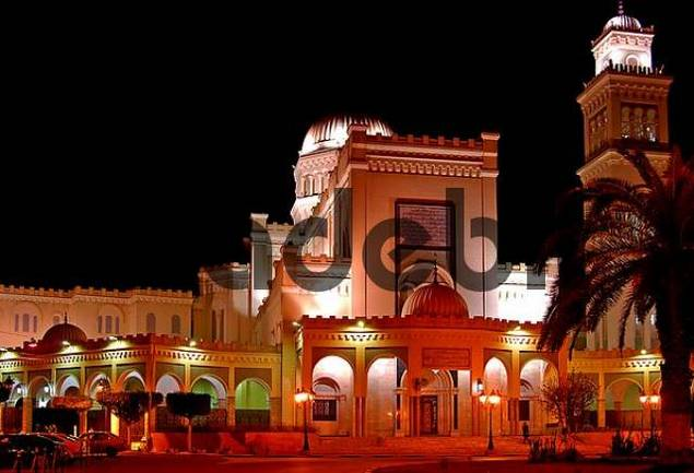 Evening lights at teh mosque, Tripoli, Libya