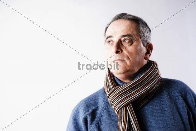 Elderly man with a sad expression